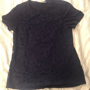 Coldwater Creek Lace Overlay Short Sleeve top